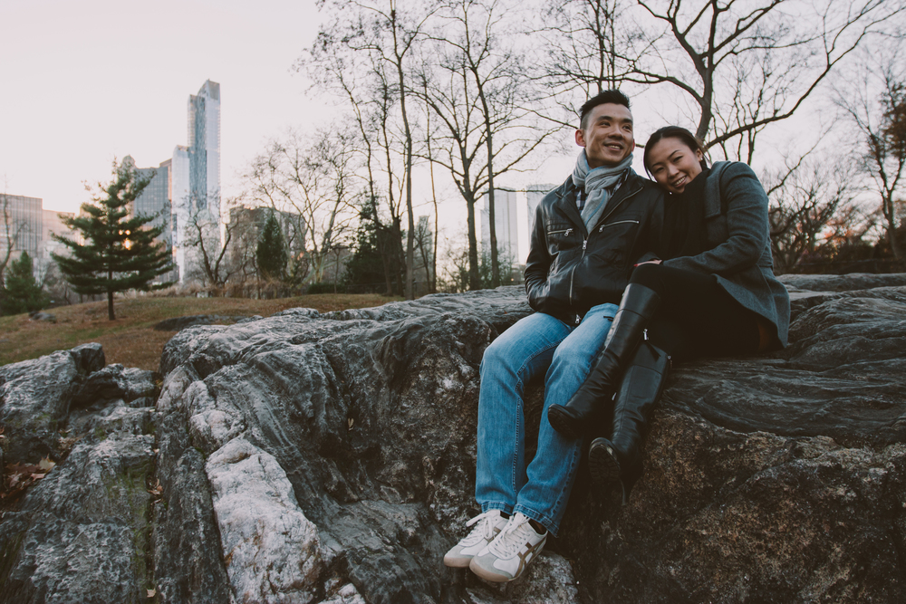 winter central park engagement photography