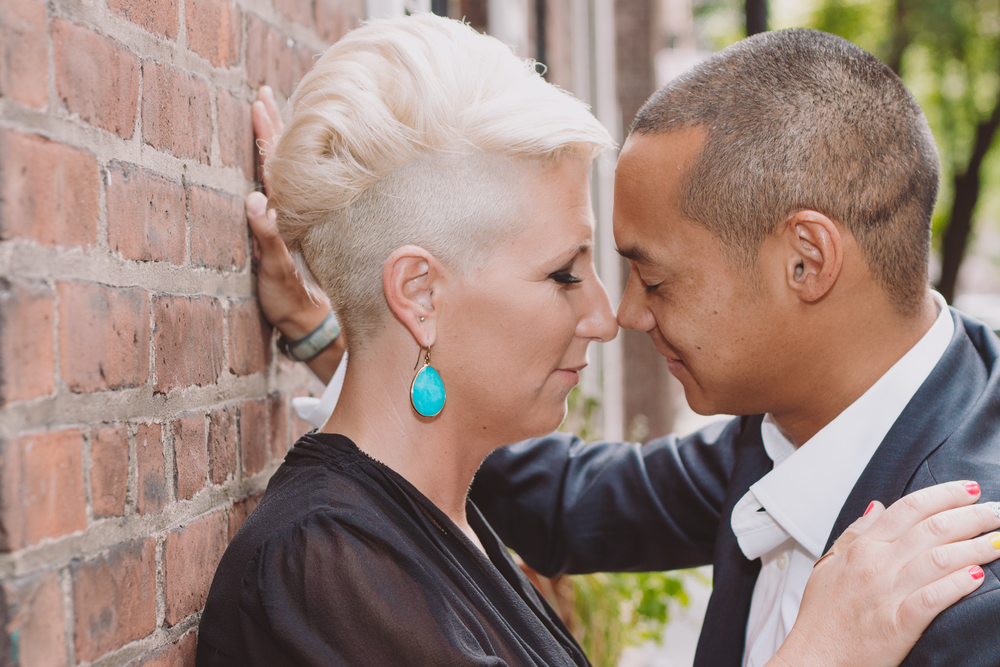 intimate moment between couple during anniversary shoot