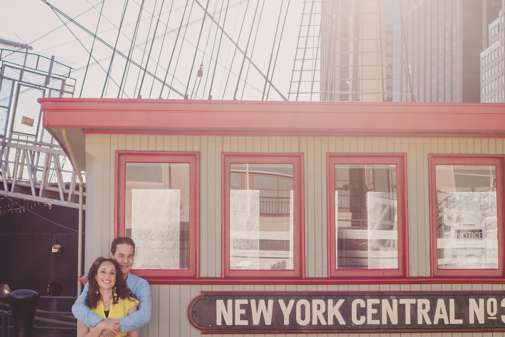 NY old school train engagement photos