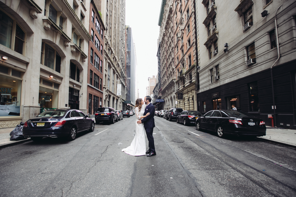 Bride and groom in NYC street