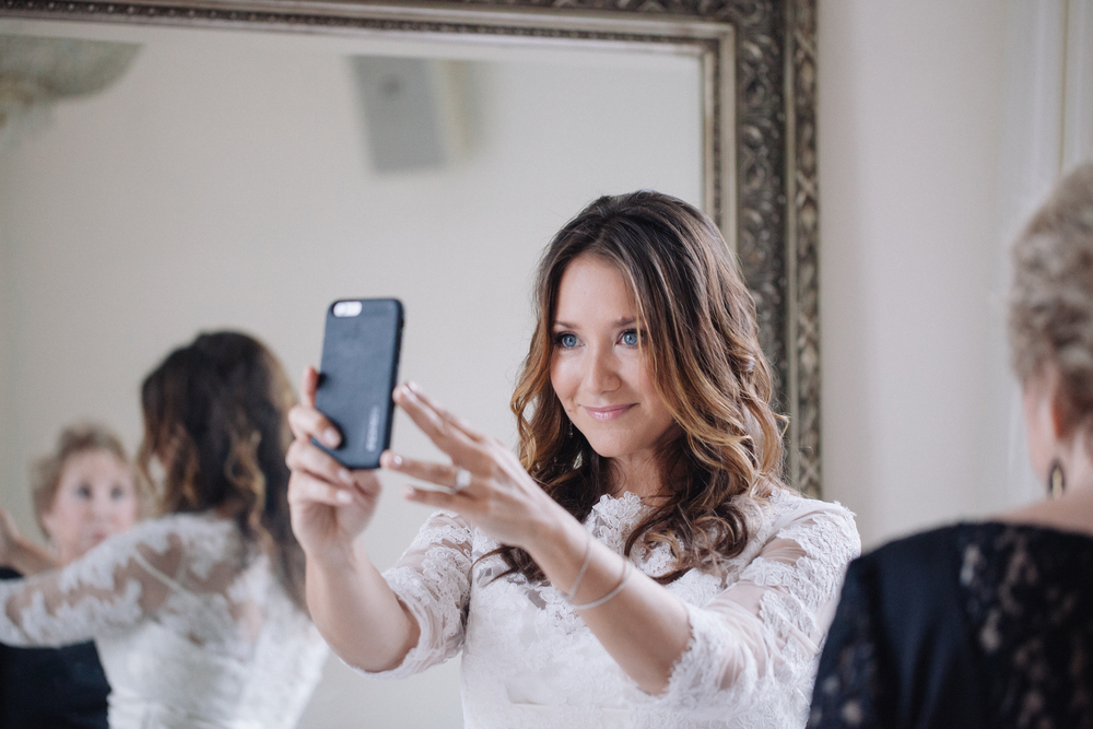 bride taking selfie