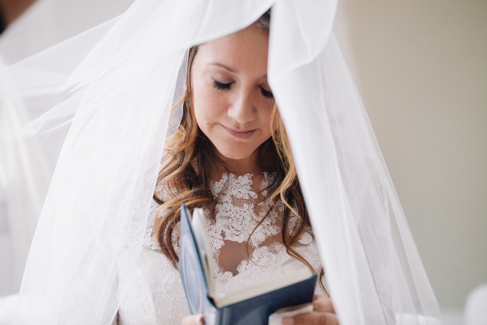 bride reading torah