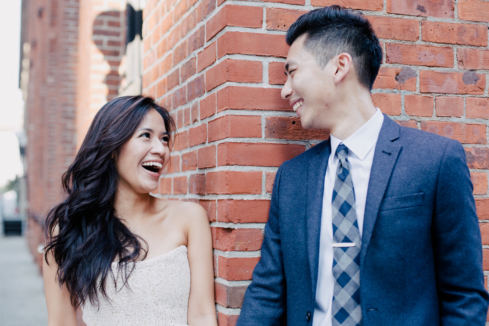 cute Asian couple engaged