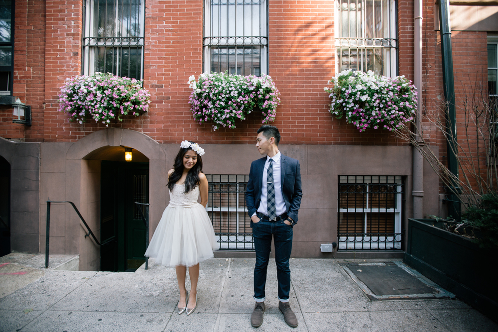 beautiful spring engagement photography in west village