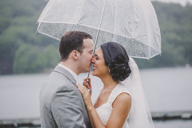 rainy umbrella wedding photograph
