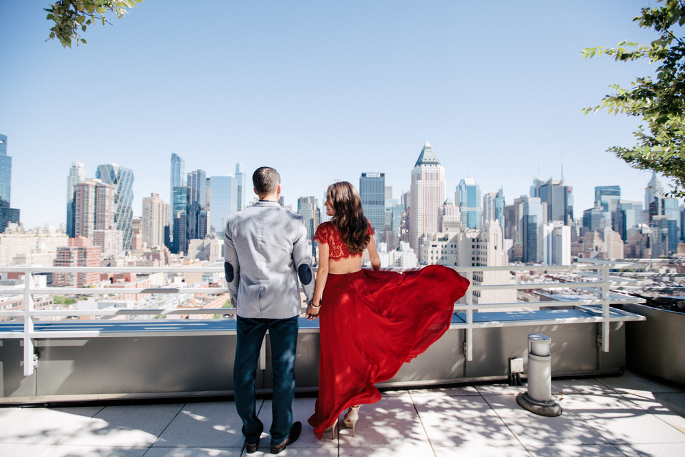 urban nyc rooftop engagement photography