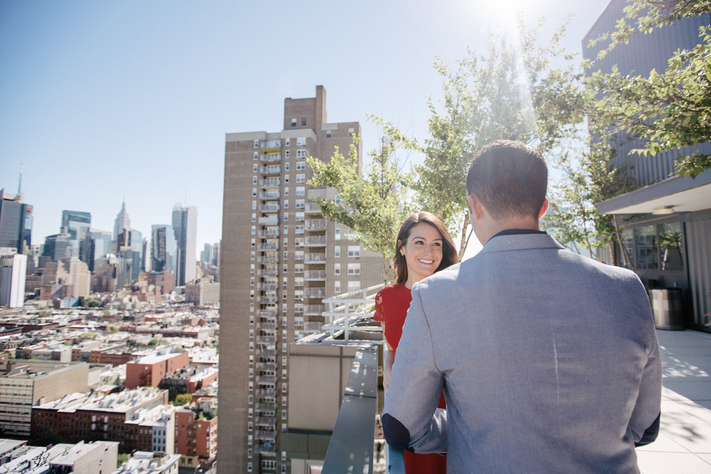 rooftop high rise engagement photos