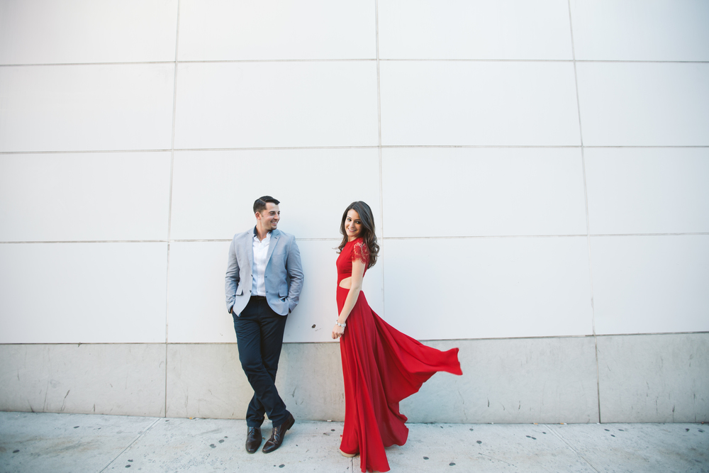 flowy dress engagement photography nyc