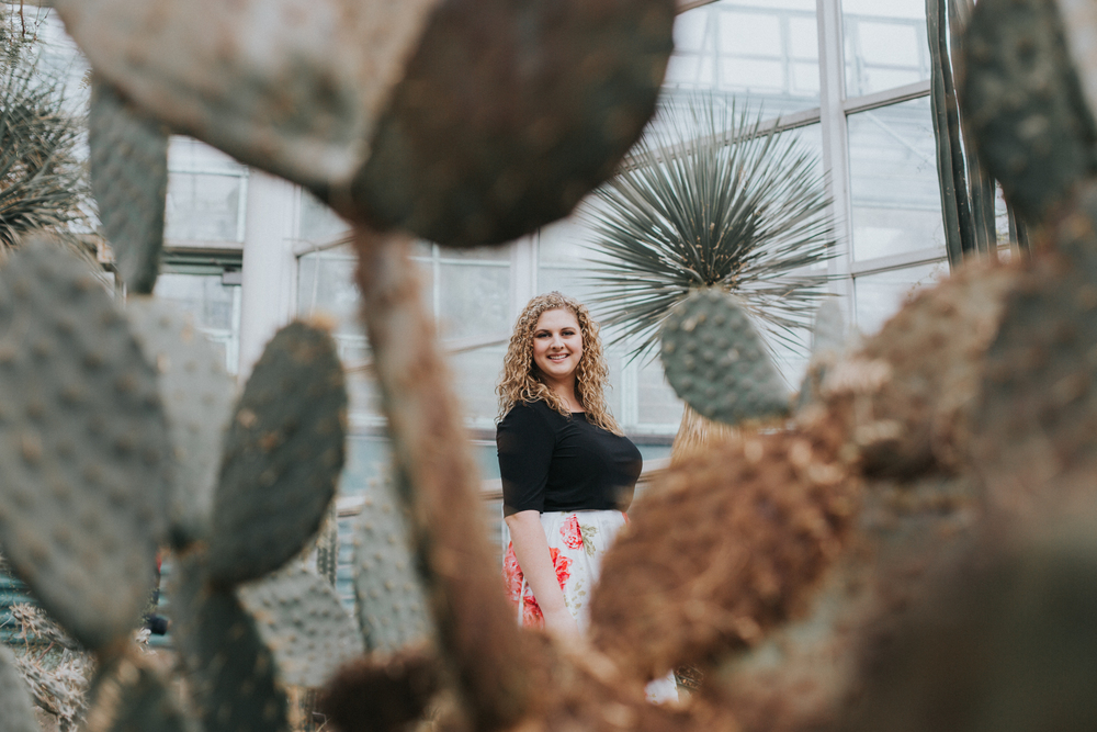 girl with cactus portrait