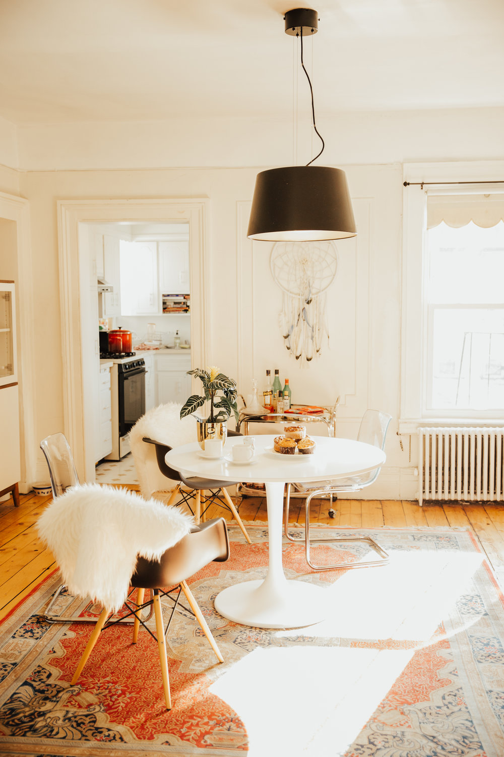 hipster decor in light filled brooklyn apartment
