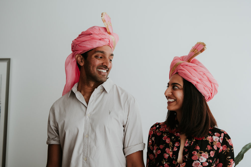 pink turban couple