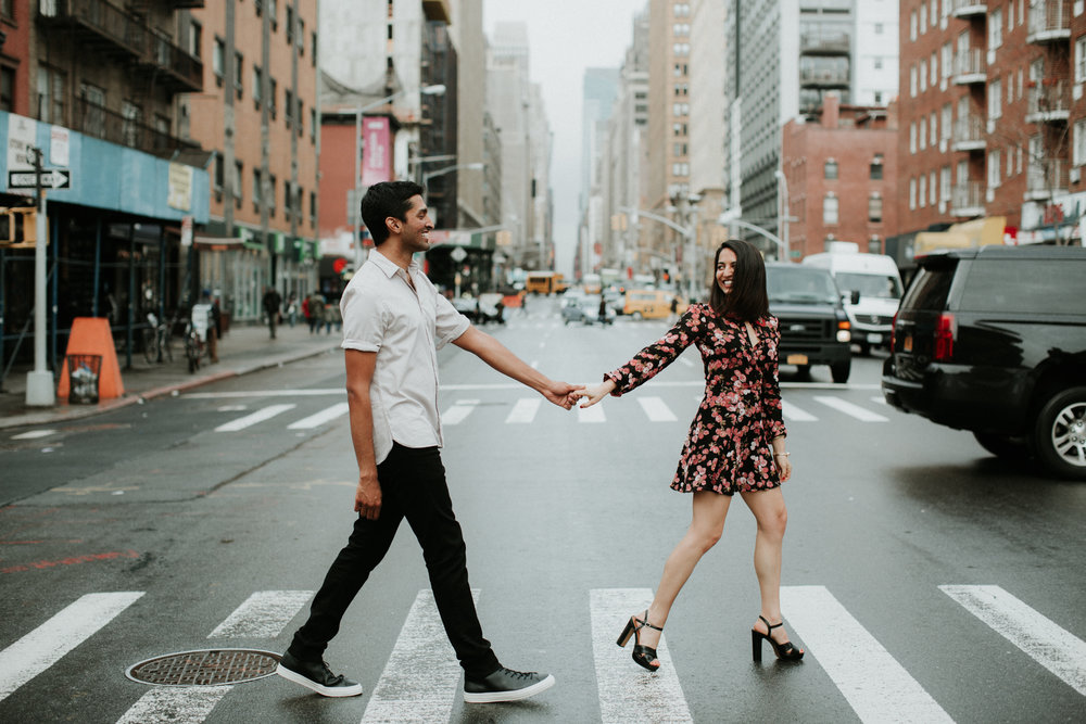nyc couple walking in street