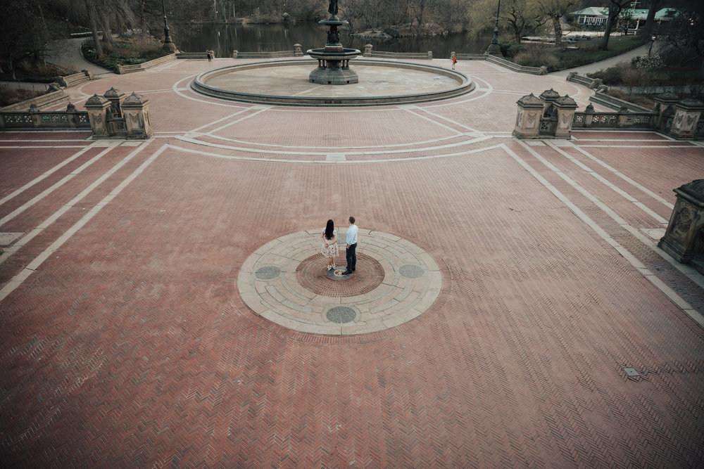 couple standing by bethesda terrace