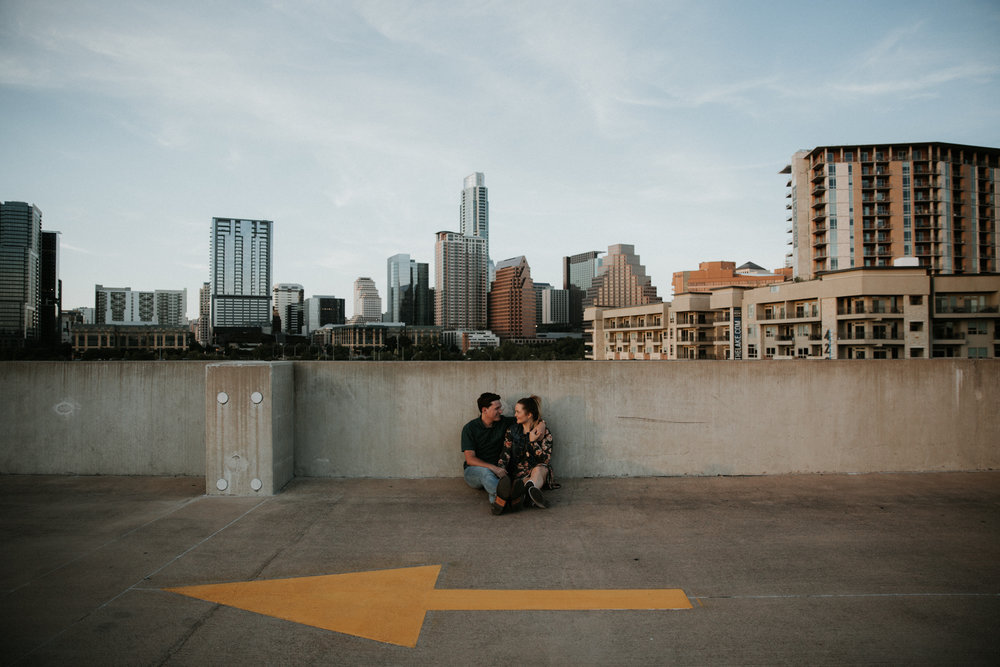 parking garage engagement photos