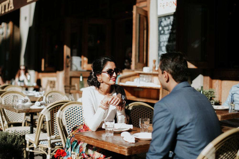 nyc cafe engagement photo