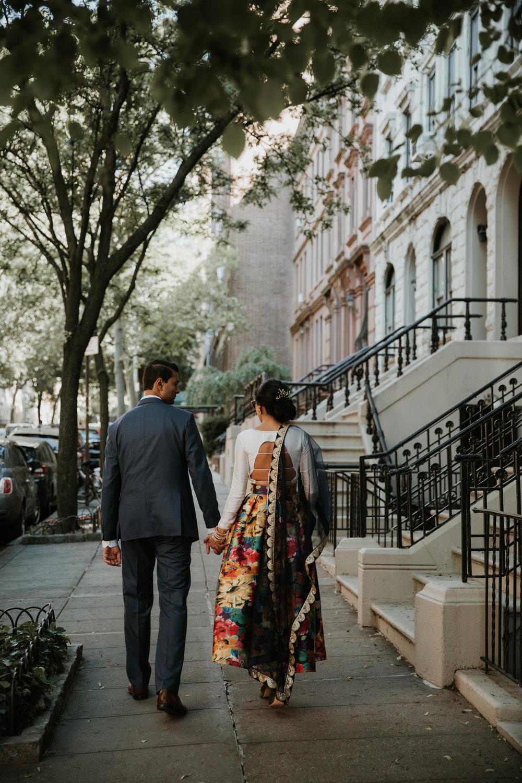 nyc walking engagement photos