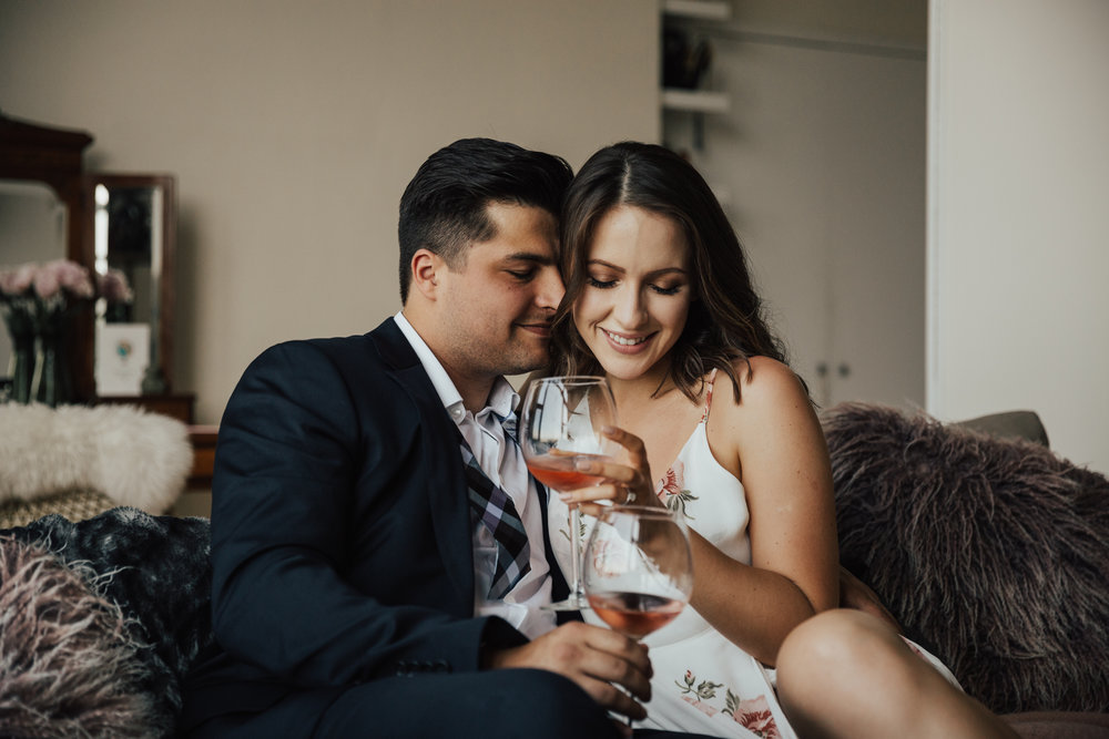 in home cozy engagement photography