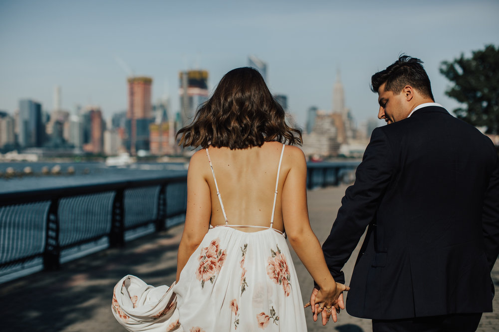 nyc skyline engagement photography