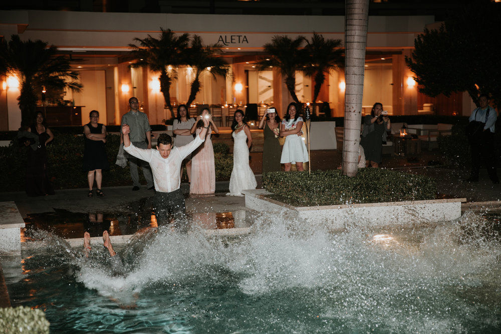 jumping in the pool wedding