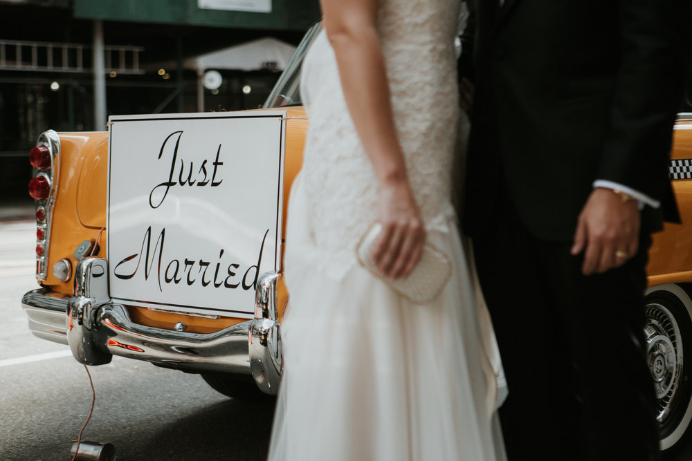vintage just married taxi nyc