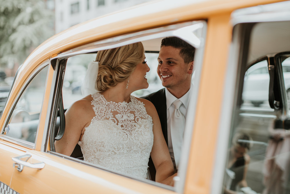 couple in nyc vintage taxi