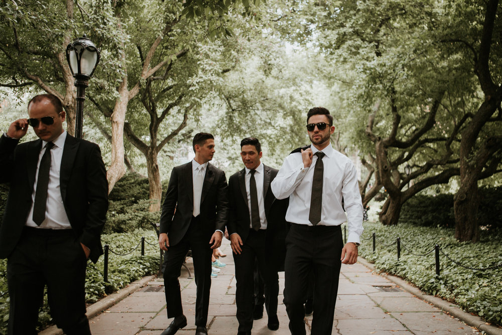 groomsmen walking in nyc