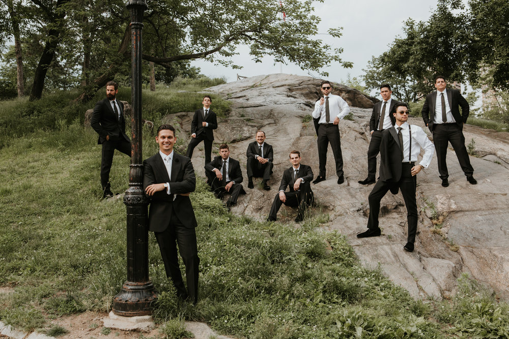 creative groomsmen pose nyc