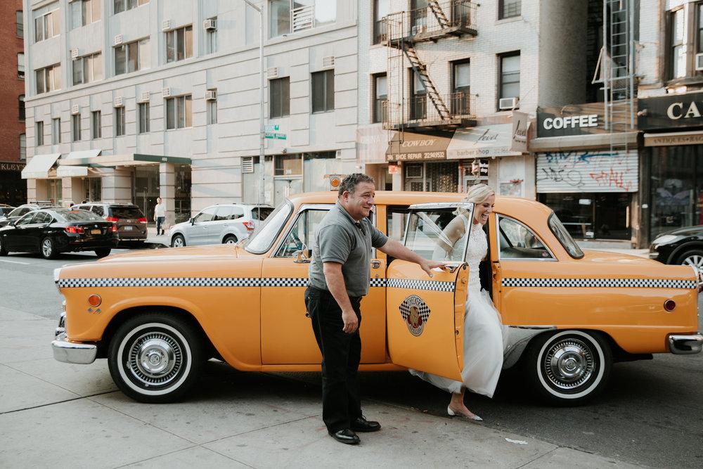 bride vintage taxi nyc