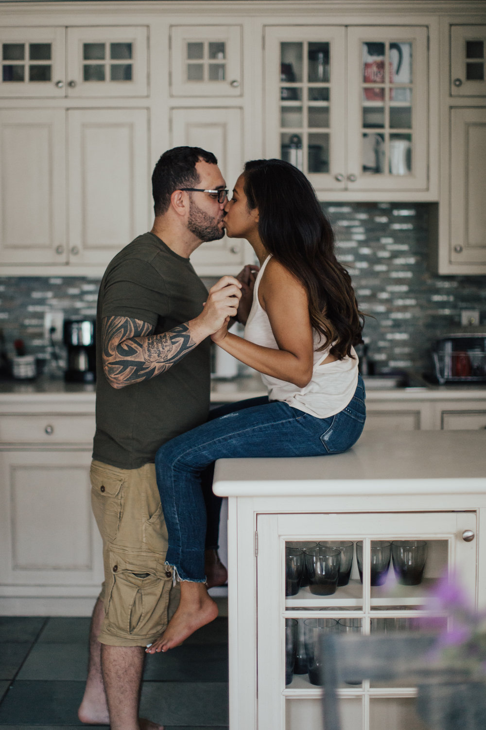 kitchen engagement photography