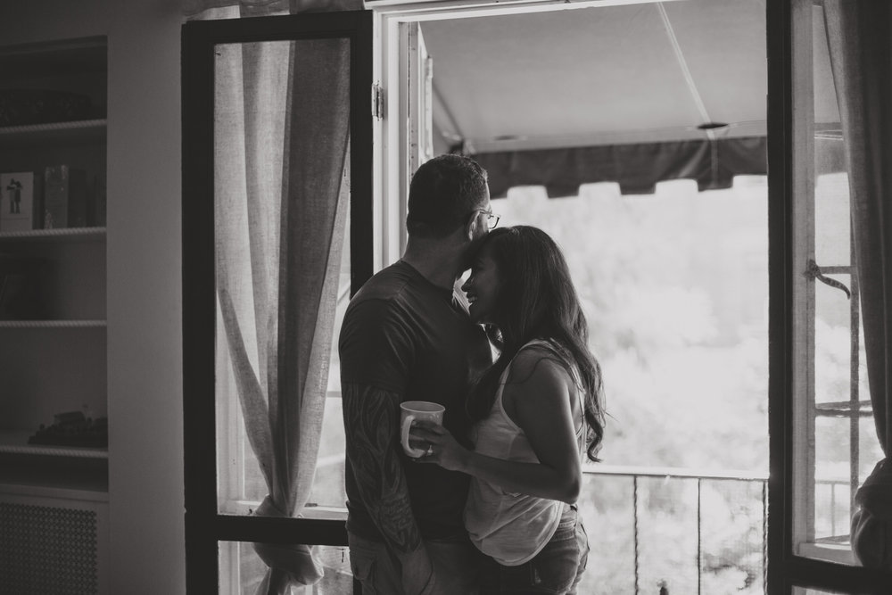 intimate in home engagement photos