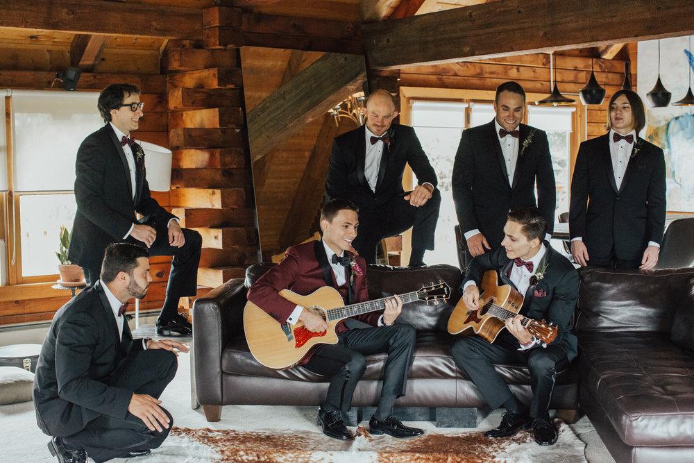 groomsmen candids rustic wedding