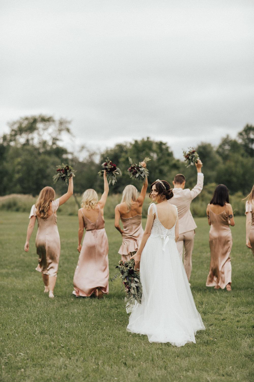 boho bride with bridal party