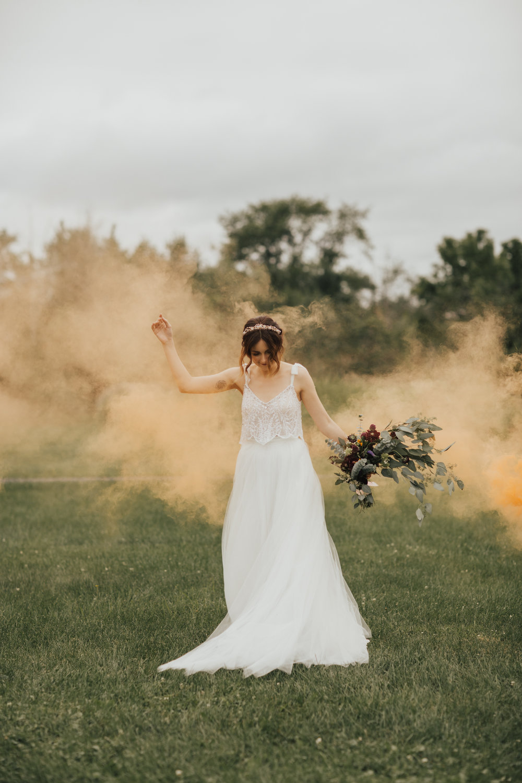 smoke bombs wedding photography
