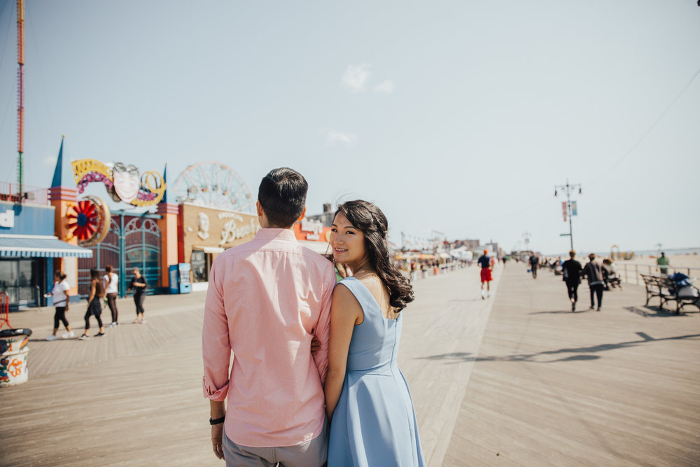 coney island summer engagement photography
