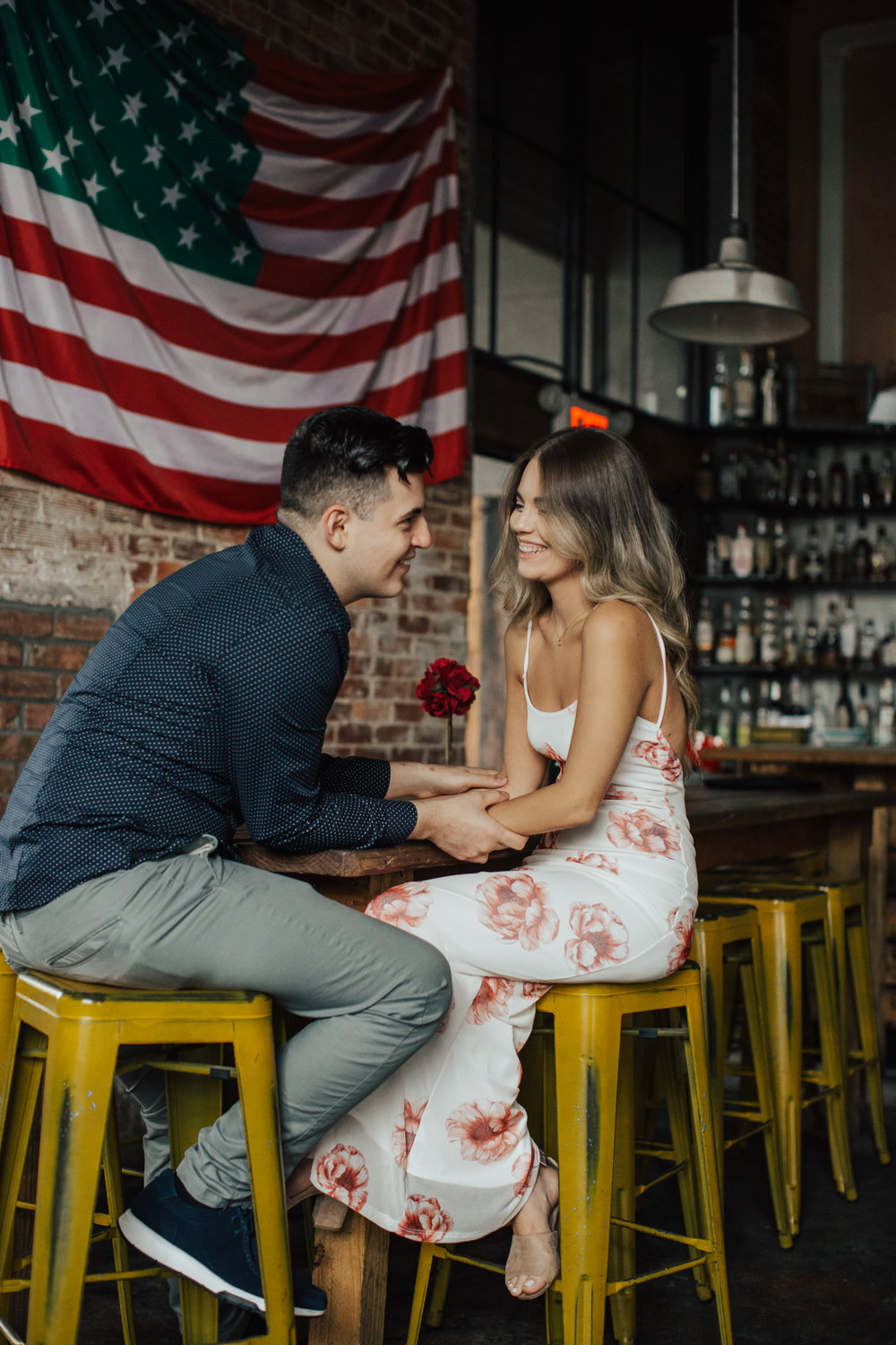 pizzaria engagement shoot