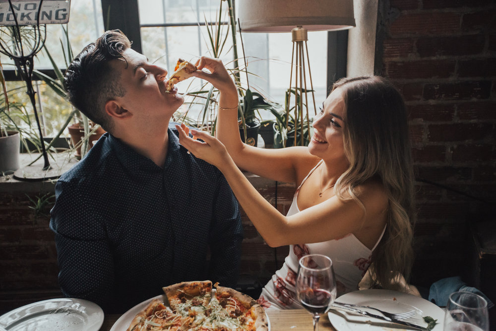 engagement photos with pizza
