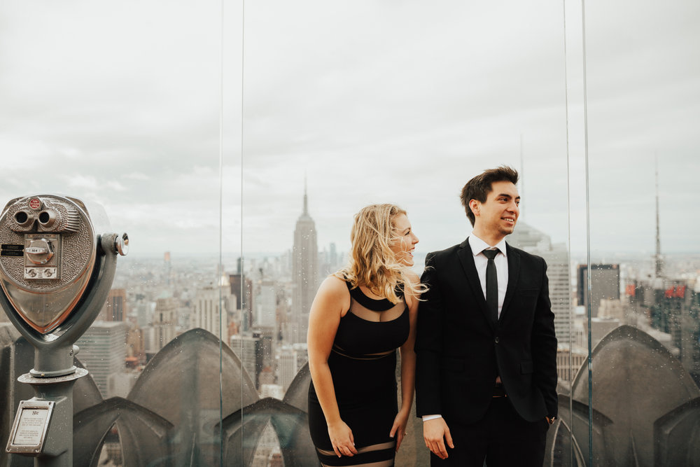 rainy day top of the rock engagement