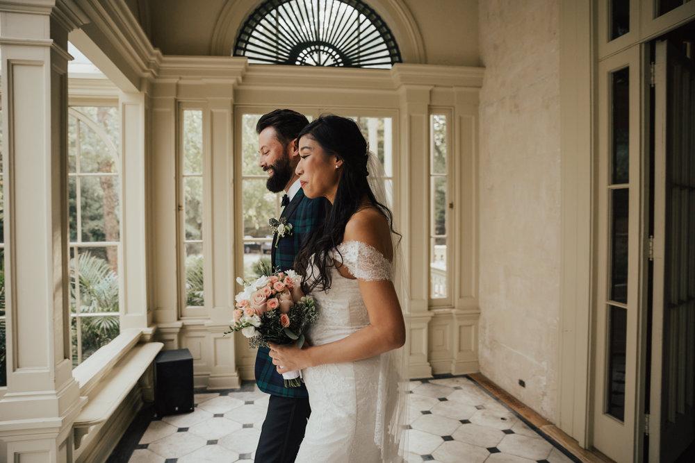 bride walking with groom