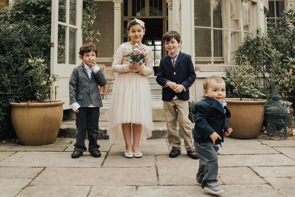 kids at garden wedding
