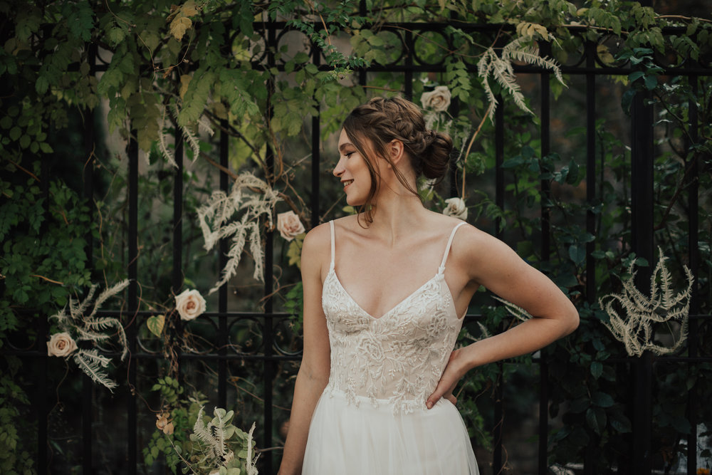 whimsical spaghetti strap wedding dress