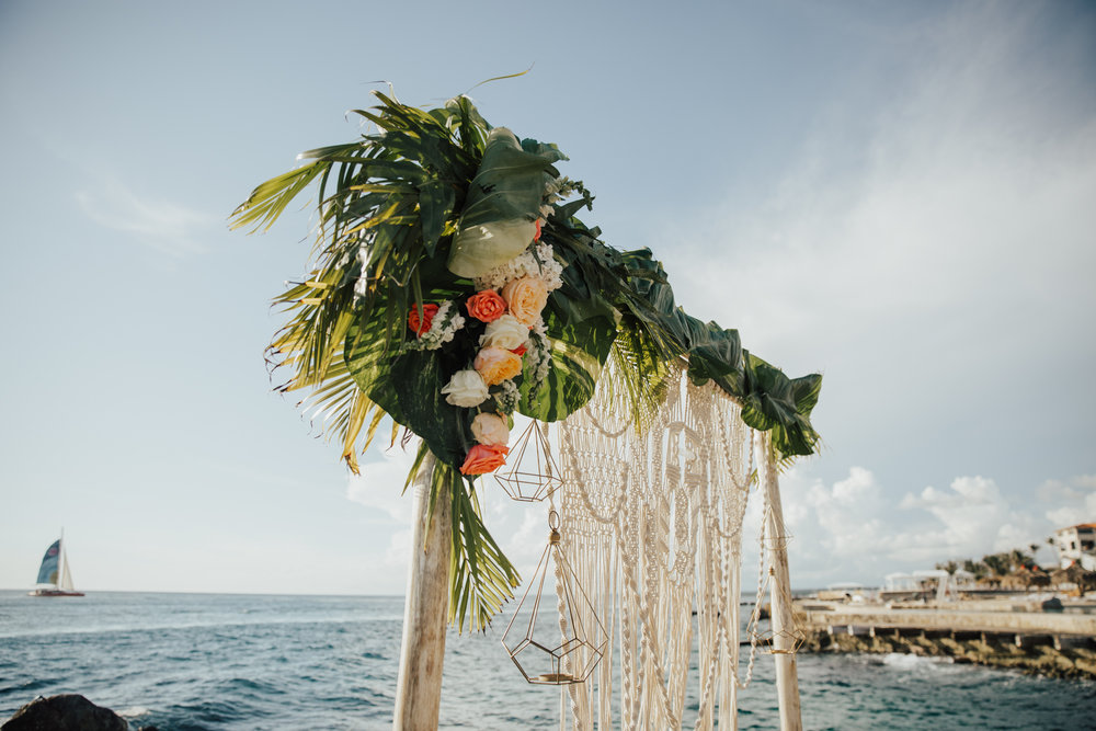 tropical leaf greenery wedding decor