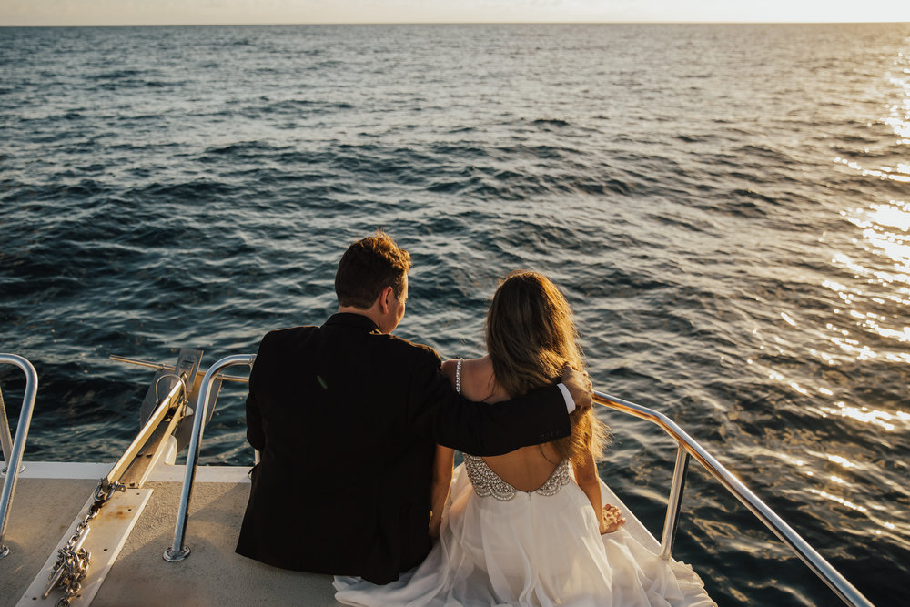 trash the dress on a boat