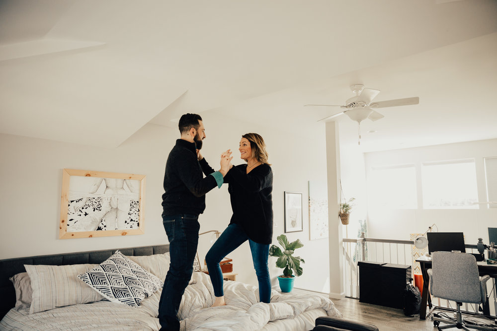 cozy in home engagement photos