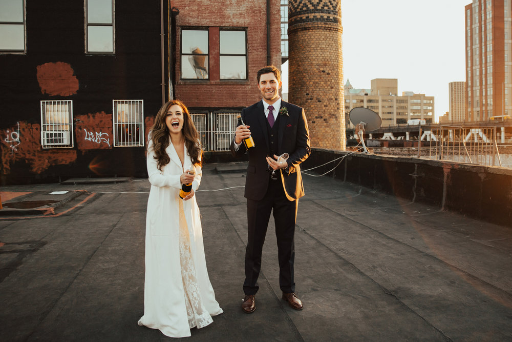 NYC Winter Elopement // Tara + Eric // Private Brooklyn Rooftop