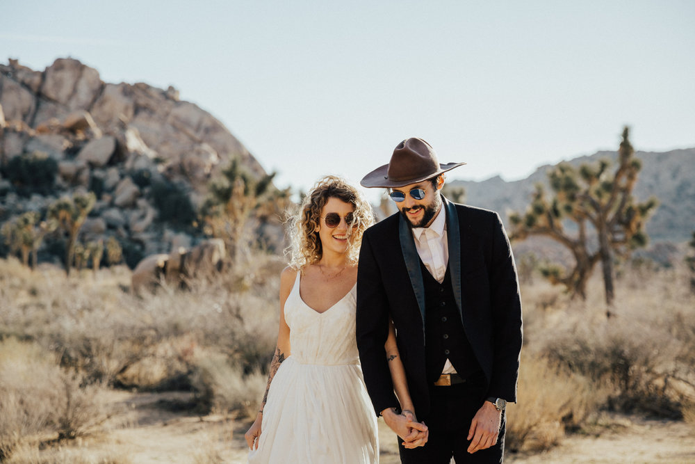happy couple joshua tree