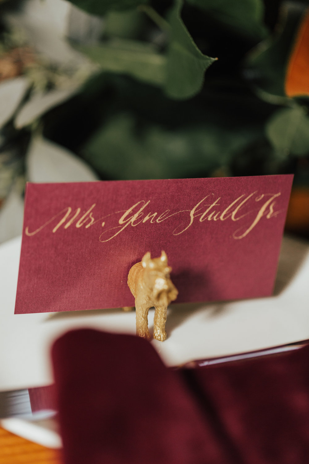 animal table names wedding