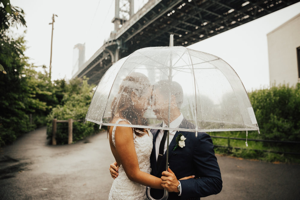rainy wedding day in brooklyn