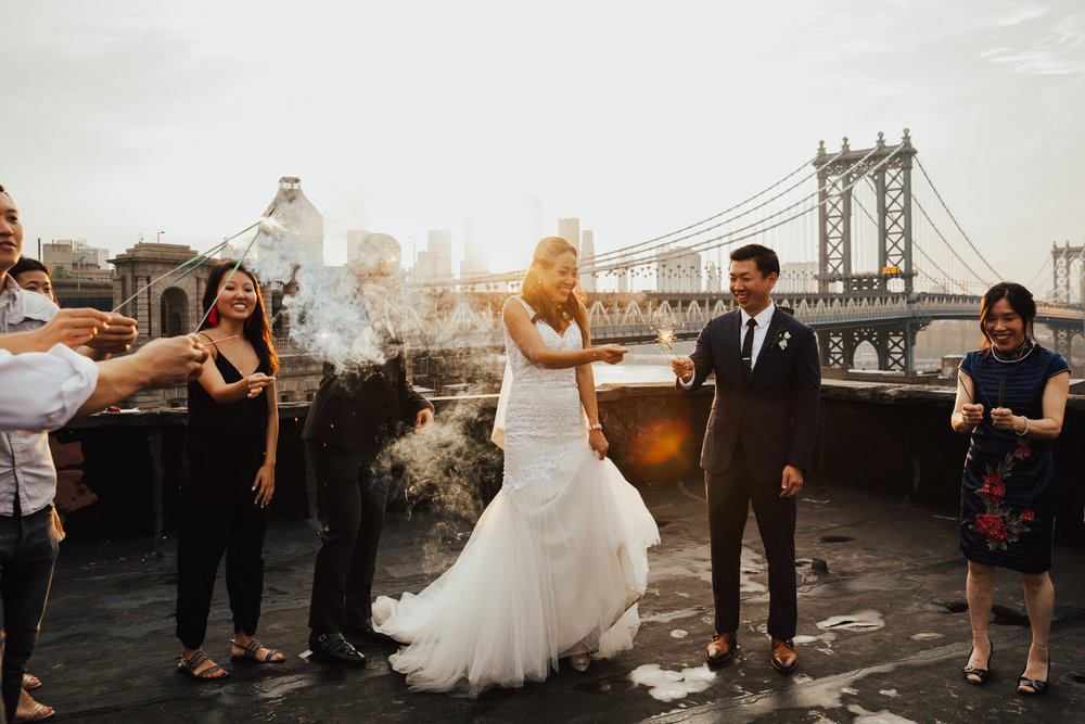 sparkler wedding exit nyc