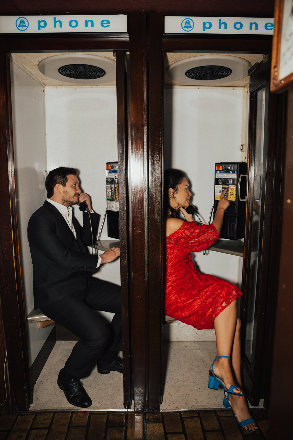 phone booth engagement photos