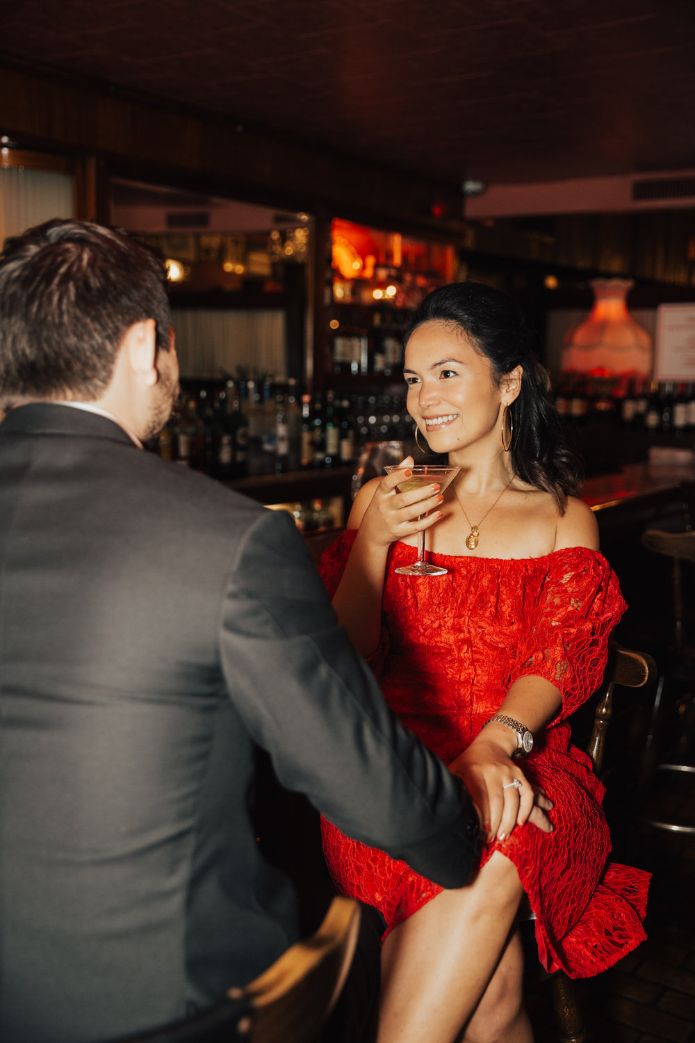 nyc bar engagement photos
